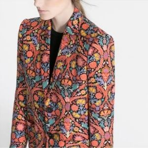 Zara colorful floral blazer jacket